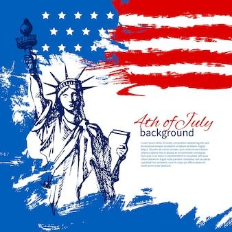 Fond du 4 juillet avec drapeau américain. conception vintage dessinée à la main pour le jour de l'indépendance