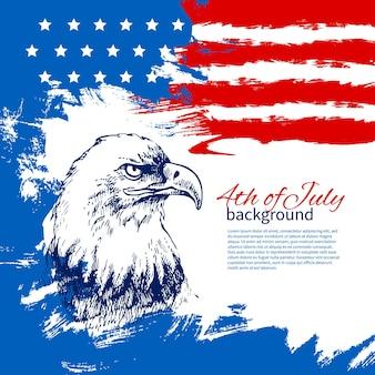 Fond Du 4 Juillet Avec Drapeau Américain. Conception Vintage Dessinée à La Main Pour Le Jour De L'indépendance Vecteur Premium