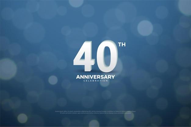 Fond du 40e anniversaire avec des chiffres et un arrière-plan à l'aide d'une illustration de mica juteux de couleur marine.