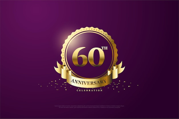 Fond du 60e anniversaire avec un numéro au milieu d'un symbole unique.