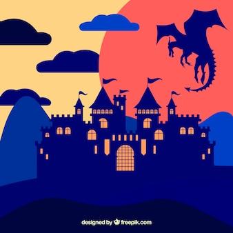 Fond du château de la silhouette avec le dragon volant
