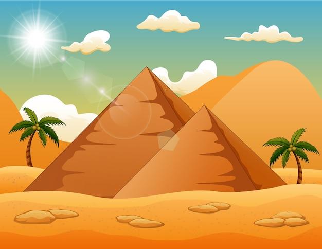 Fond du désert avec des pyramides et des palmiers