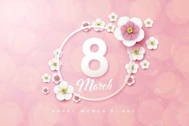 Fond du huit mars avec des chiffres blancs et des fleurs en trois dimensions