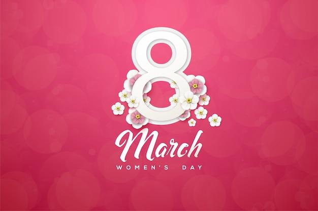 Fond du huit mars avec des chiffres et des fleurs sur fond rose