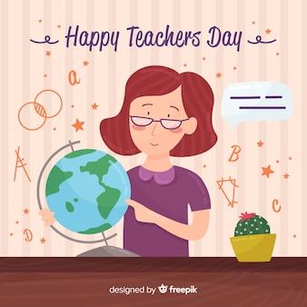 Fond du jour heureux professeur du monde avec une enseignante