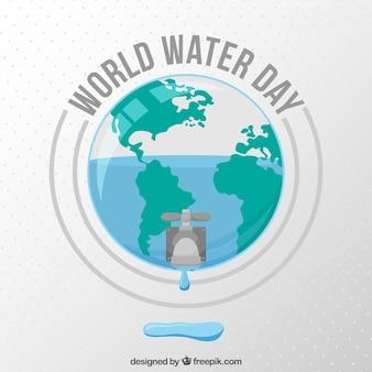Fond du monde avec robinet design plat