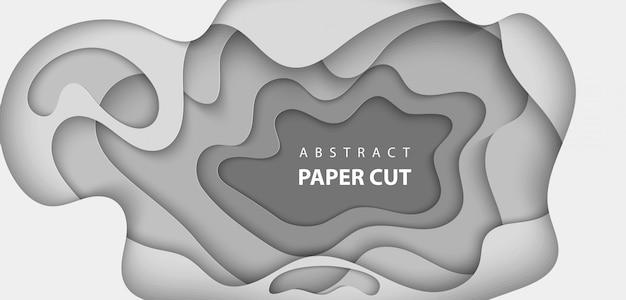 Fond avec du papier de couleur blanche et grise coupé