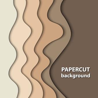 Fond avec du papier de couleur marron et beige coupé des formes.
