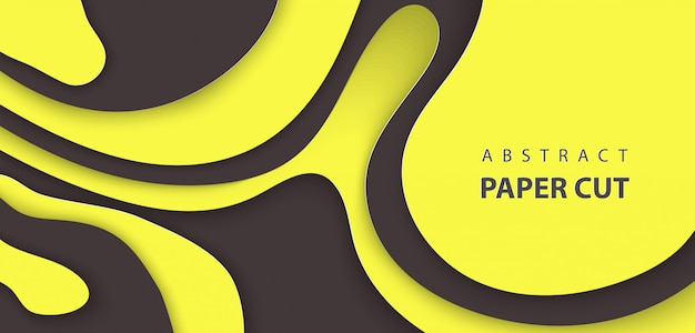 Fond avec du papier de couleur noir et jaune coupé