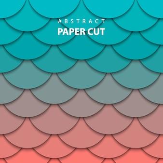 Fond avec du papier turquoise et corail coupé