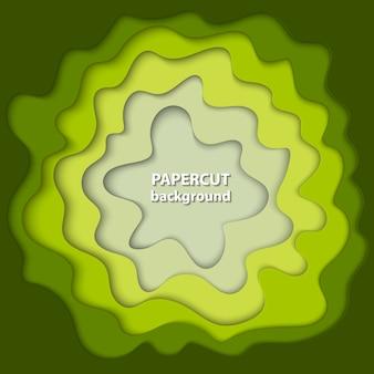 Fond avec du papier vert et beige coupé