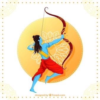 Fond de dussehra heureux avec archer bleu