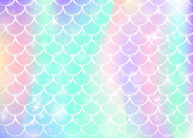 Fond d'écailles arc-en-ciel avec des formes de princesse sirène kawaii