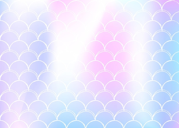 Fond d'écailles de sirène avec dégradé holographique. transitions de couleurs vives. bannière et invitation en queue de poisson. motif sous-marin et marin pour une fête entre filles. toile de fond multicolore avec des écailles de sirène.