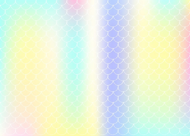 Fond d'échelle de dégradé avec sirène holographique. transitions de couleurs vives. bannière et invitation en queue de poisson. motif sous-marin et marin pour une fête entre filles. toile de fond colorée avec échelle de dégradé.