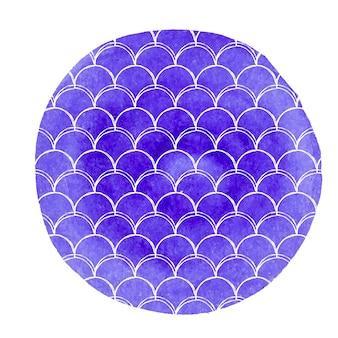 Fond d'échelle de queue de sirène aquarelle