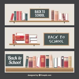 Fond école des étagères avec des livres