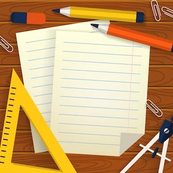 Fond d'école avec papeterie, feuilles de papier et place pour le texte.