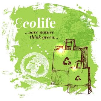 Fond d'écologie de croquis. illustration vectorielle dessinés à la main