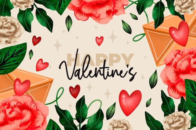 Fond d'écran aquarelle saint valentin avec des fleurs et des voeux