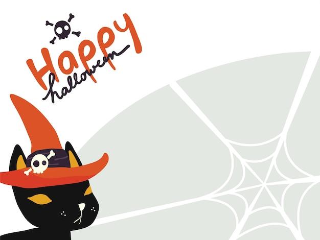 Fond d'écran d'un chat noir portant un chapeau de sorcière avec «happy halloween» sur une toile d'araignée