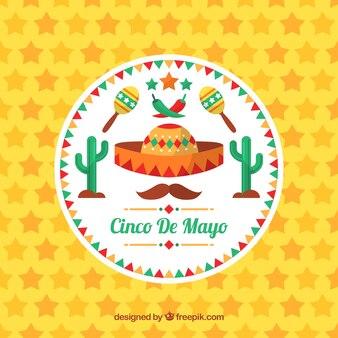 Fond d'écran cinco de mayo avec des étoiles et des objets traditionnels