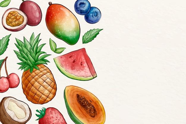 Fond d'écran de collection de fruits avec espace copie