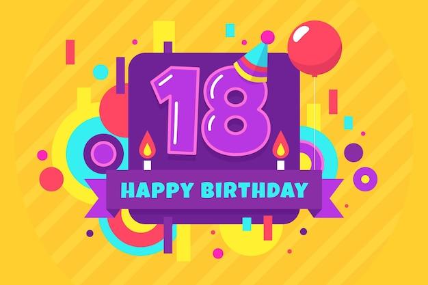 Fond d'écran coloré joyeux 18e anniversaire