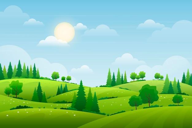 Fond D Ecran Avec Concept De Paysage Naturel Vecteur Premium