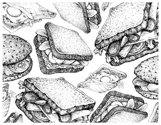 Fond d'écran dessiné à la main de divers sandwiches