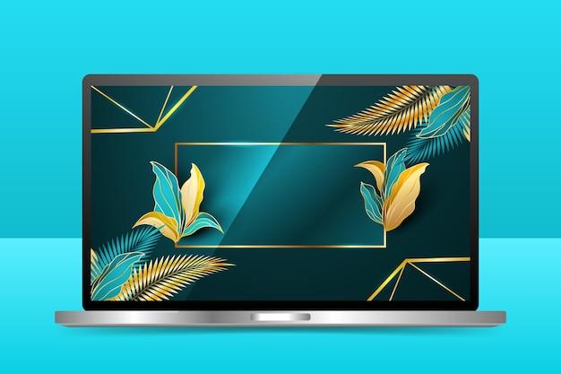 Fond d'écran détaillé doré sur écran d'ordinateur portable