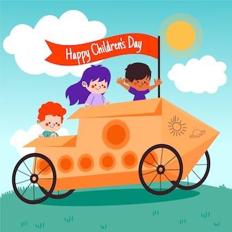 Fond d'écran du jour des enfants heureux dessinés à la main