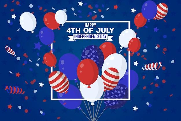 Fond d'écran de la fête de l'indépendance avec le concept de ballons