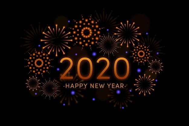 Fond d'écran feux d'artifice nouvel an 2020