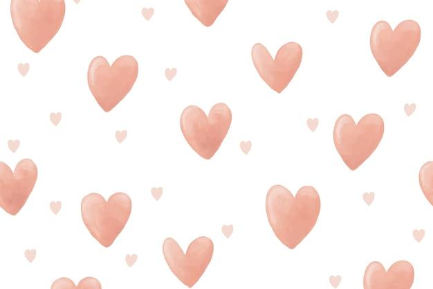 Fond d'écran de fond de coeur, vecteur aquarelle mignon