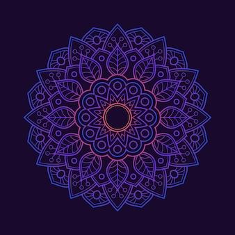 Fond d'écran de fond dégradé mandala coloré. motif floral de couleur néon. textile en tissu arabesque.