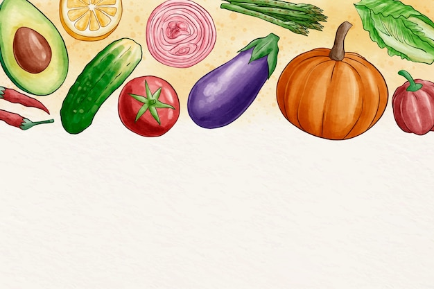 Fond d'écran de fruits et légumes avec copie espace