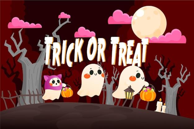 Fond d'écran d'halloween dessiné à la main avec des personnages effrayants