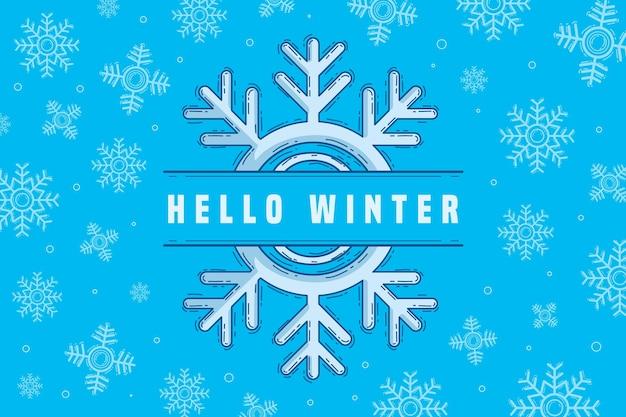 Fond d'écran d'hiver enneigé dessiné à la main
