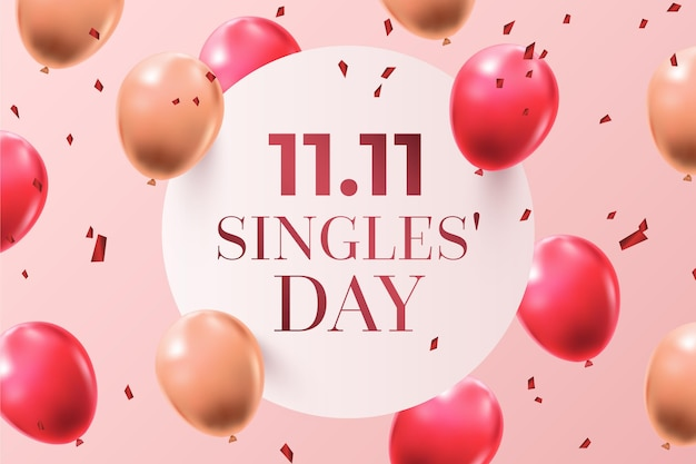 Fond d'écran de la journée des célibataires avec des ballons réalistes