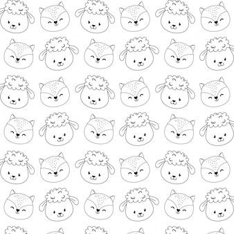 Fond d'écran mignon motif animaux de la forêt des caractères