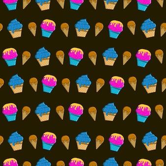 Fond d'écran de modèle sans couture de crème glacée