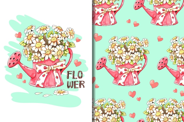 Fond d'écran et motif fleur blanche en dessin animé d'arrosoir rouge