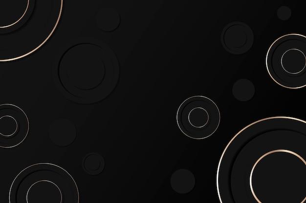 Fond d'écran noir, vecteur de conception de modèle de cercle géométrique