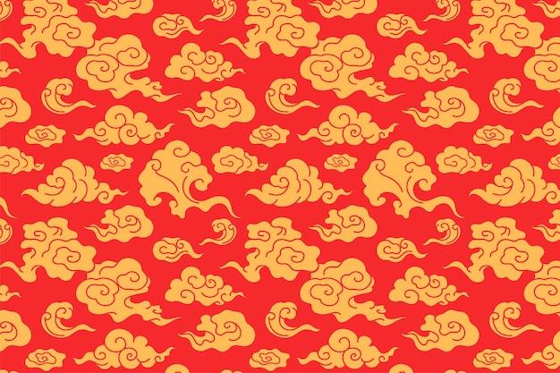 Fond d'écran de nuage, vecteur d'illustration motif oriental rouge