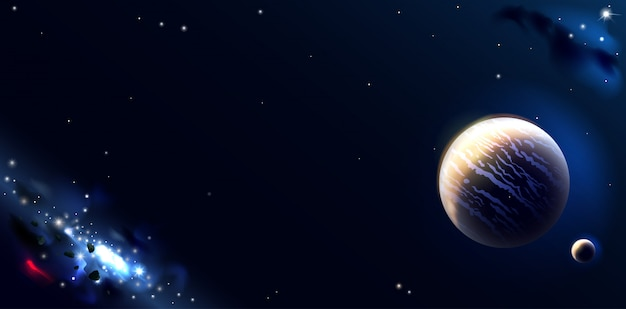 Fond d'écran avec des planètes spatiales et des galaxies