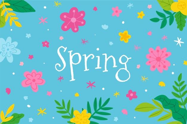 Fond d'écran de printemps dessiné à la main avec fleur