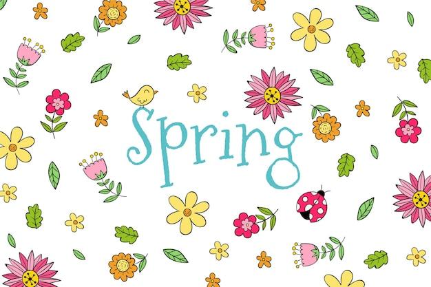 Fond d'écran de printemps dessiné à la main avec des fleurs