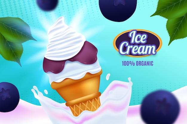 Fond d'écran publicitaire réaliste de crème glacée