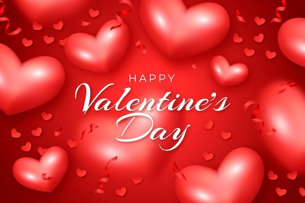 Fond d'écran réaliste de la saint-valentin avec des coeurs